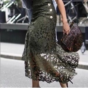 Zara Khaki Frilled Lace Asymmetric Skirt